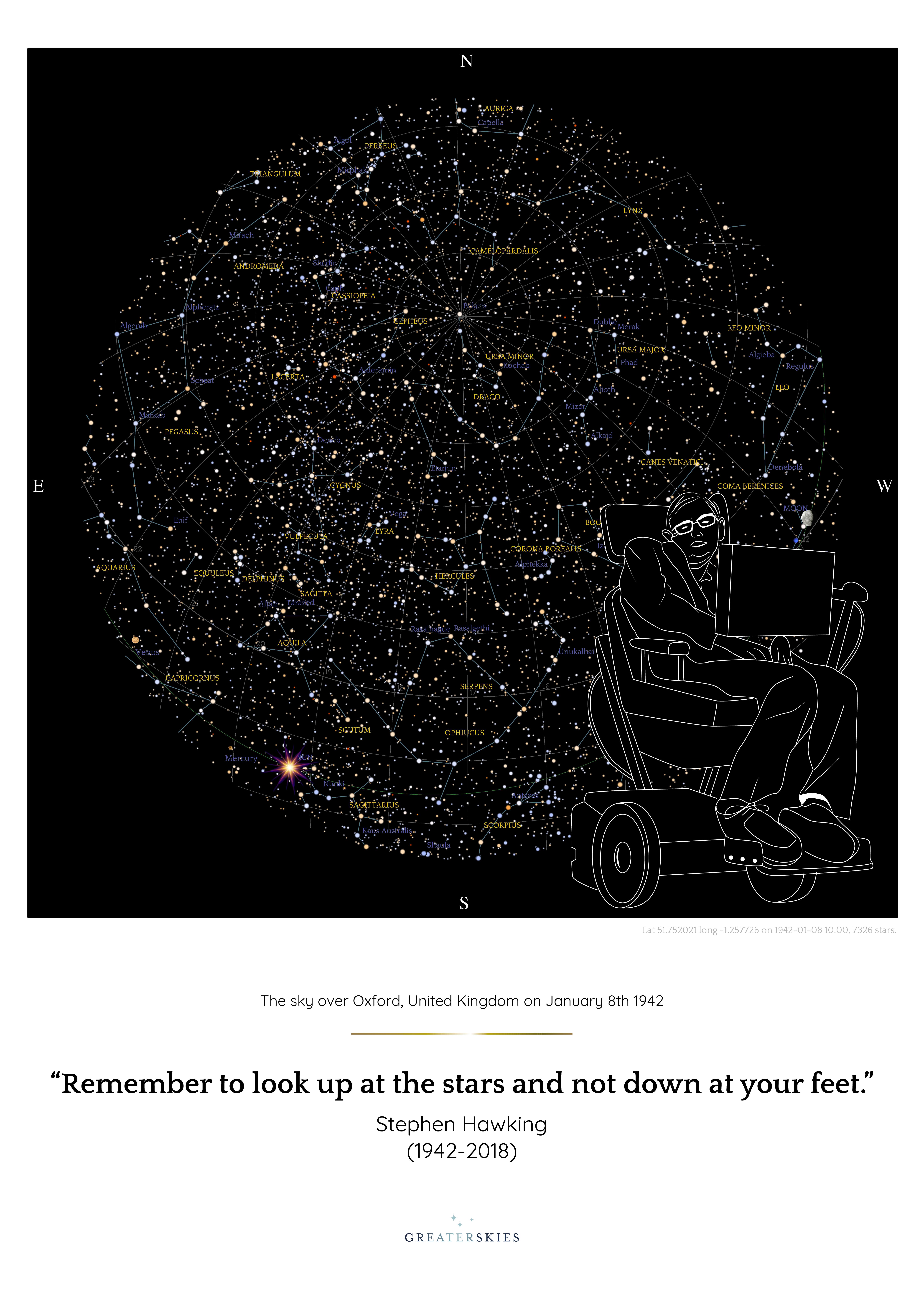 Stephen Hawking Star Map GreaterSkies - Printable star map