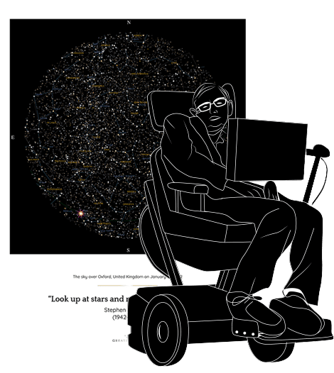 A commemorative drawing of Stephen Hawking, with his star map