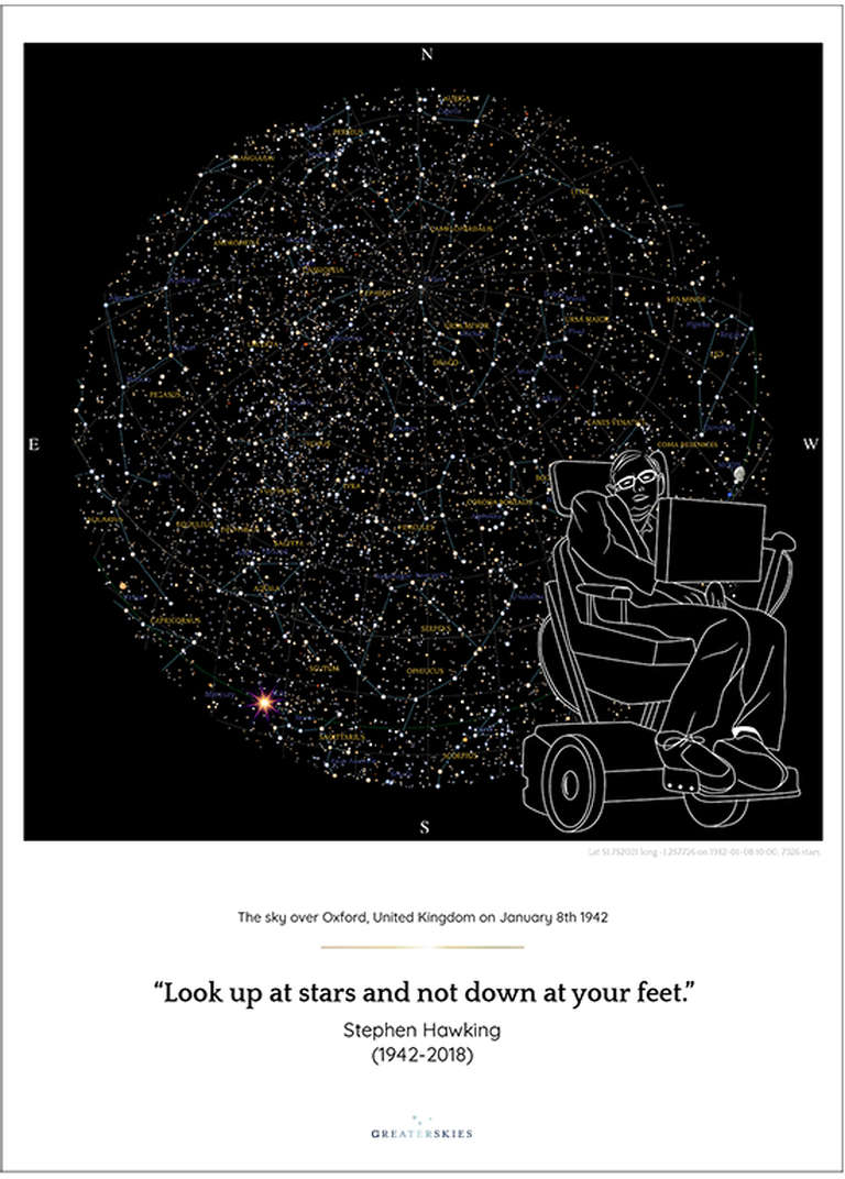 Our map of the sky tribute to Professor Hawking